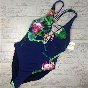 NWT TiniBikini Floral Ladder Front One Piece